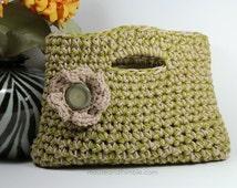 "Small Cotton Purse & Button Flower Easy Crochet PATTERN 11"" x 8"" (28 x 20) cm - PDF 1108"