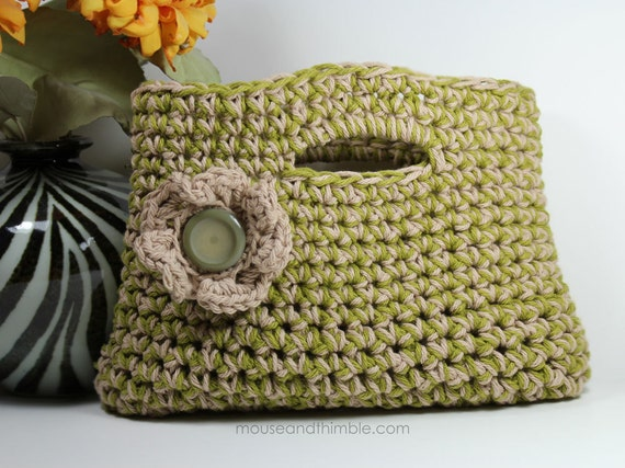 "Small Cotton Purse & Button Flower Easy Crochet PATTERN 11"" x 8"" (28 x 20) cm - PDF 1108"
