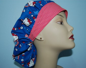 Bouffant Scrub Cap Hello Kitty Statue of Liberty / Chemo/ Chef/ Vet/ Alopecia/ Surgical Uniform by Hot Headz Not an Official Sanrio Product