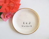 wedding ring dish,  ring holder, engagement gift, You and Me,  Black, White, Gold, Made to Order