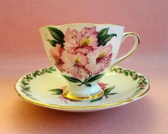 """VINTAGE Teacup & Saucer - Bone China, Pattern """"Laurel Time"""", Laurel in cup - saucer edge, cluster pink Laurel flowers, Made In England"""""""