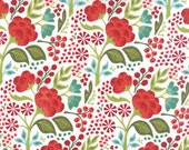 Red and Green Floral Holiday Fabric - Juniper Berry by Basicgrey from Moda - 1/2 Yard
