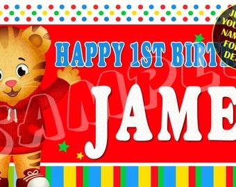 Daniel Tiger // Daniel // Tiger // Personalized Custom Birthday Banner Party Decoration // 001