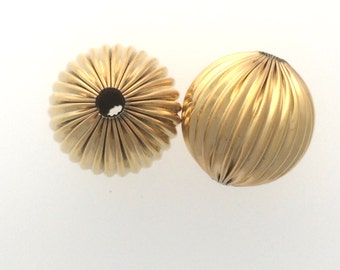 Gold plated corrugated bead: 2508