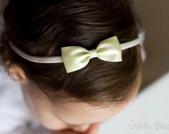 Pastel Yellow and Ivory Baby Headband - Flower Girl Headband - Small Satin Pastel Yellow Bow Handmade Headband - Baby to Adult Headband