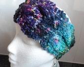Hand knitted Blue/Purple/Green Random Chunky Ear-warmer or Headband