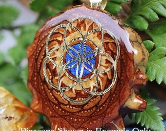 Glowing Crushed Lapis with Gold Seed of Life Third Eye Pinecone Pendant