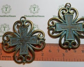 1 or 2 pcs per pack 58x53mm Square 4 heart Fancy Cross Pendant Patina Antique Bronze Finish Lead Free Pewter.