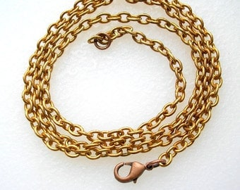 22-inch Coppery Vintage Brass Necklace Chain