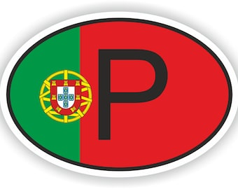 Portugal P Country Code Oval Sticker with Flag for Bumper Laptop Book Fridge Motorcycle Helmet ToolBox Door Hard Hat Tool Box Locker Truck