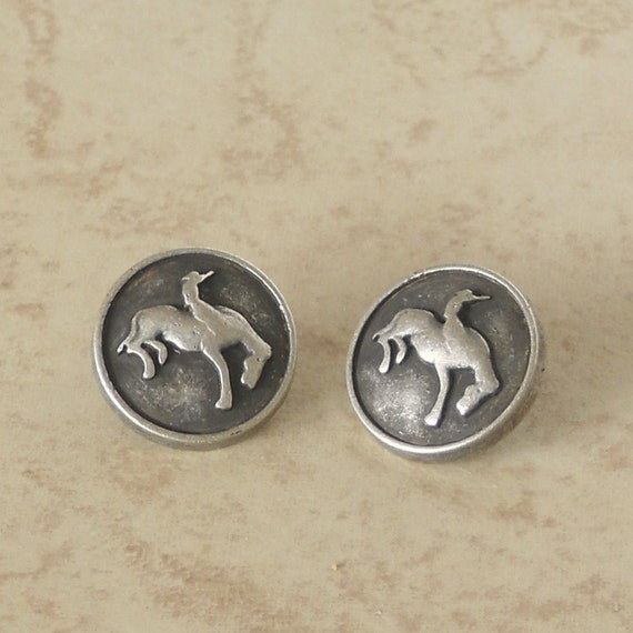 15mm cowboy on horse rodeo buttons silver tone metal shank for Buttons with shanks for jewelry