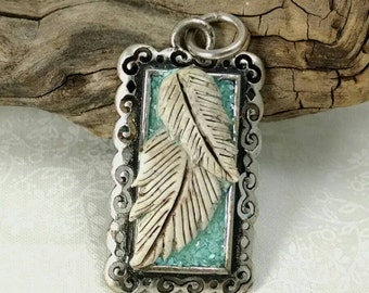 Feather Pendant, Southwestern Pendant, Polymer Clay, Resin, Tall Pendant, Turquoise, Jewelry Supplies