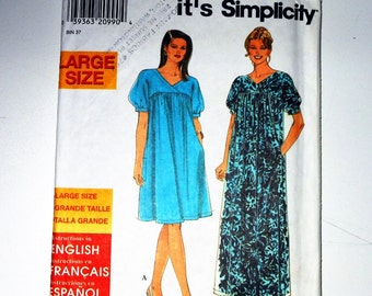 Vintage Simplicity 1997 Women's It's So Easy Dress In Two Lengths UNCUT Size 18W - 26W Pattern Number 7951