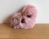 Mr Heart, with teeth / Teddy Bear with teeth - Keychain - Handmade and OOAK /Ready to ship/ Quirky Uncanny Scary Creepy Cute