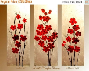 Sale Original Abstract Triptych 3  panel Contemporary  modern art  on canvas painting  by Nicolette Vaughan Horner