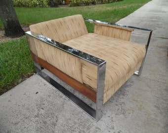 THOROUGHLY MODERN MILO / Massive Gorgeous Chrome And Walnut Very Low Lying Club / Lounge Chair / Mid Century Modern / Milo Baughman