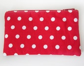 Zippered Coin Purse with Red and White Polka Dots and Card Slot