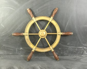 ON SALE Vintage metal ships wheel wooden handles coastal charm nautical gold paint rustic ocean nautical decor cottage chic beach display