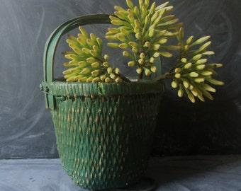 ON SALE Green woven basket vintage handmade sturdy wood handles floral storage painted basket flowers knitting bathroom towels so many uses