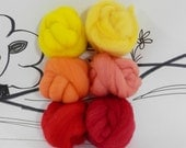 Wooly Buns loose wool roving assortment in Tequila Sunrise 1.5 oz, needle felting supplies, hand dyed wool roving, orange roving, yellow