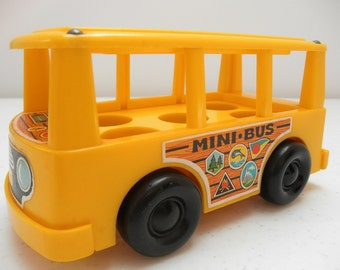 Vintage Fisher Price Little People Yellow Mini School Bus 60's  Push Toy Retro Kitsch Madmen 1969 FP Playtoy