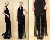80s 90s Vtg Black Long FRINGE BANDAGE Mini Dress / Leger Style GOTH Glam Mandarin Asian Collar Keyhole Sm Med