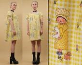 60s 70s Vtg GINGHAM Baby Doll Tented COTTON Mini Dress / Holly Hobbie Novelty Print Yellow Mod Hippie Cat Lover GoGo Scooter Dolly Sm Med