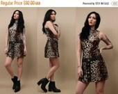 15% OFF 1DAY SALE 90s does 60s Vtg Cheetah Cat Print Drop Waist Micro Mini Dress / Mod Revival Go-Go Leather + Button Jumper / Xs - Sm