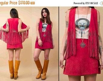 24HR FLASH SALE 70s Vtg Genuine Suede Leather Hot Pink Fringe Vest & Mini Skirt Matching Set / Deadstock Mod Hippie GoGo Biker Rocker / Medi