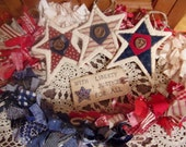 Primitive Country Raggedy Tattered Patriotic Americana Rag Swag GARLAND with STARS Skirting Wrap Drape (RWB-08)