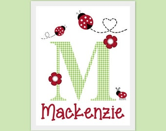 ladybug, nursery artwork, custom print, art, monogram, name, personalize, customize, 8x10, green, red, gingham