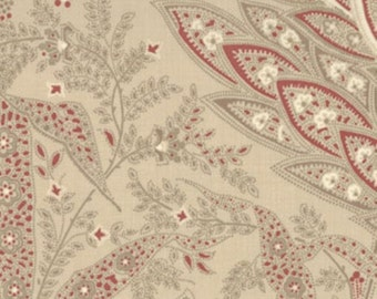 FRENCH GENERAL FAVORITES swirls paisley sprigs on oyster tan 13522-26 Moda by the half yard cotton quilt fabric