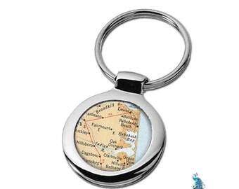 Map Keychain Rehobeth Delaware Key Ring Fob