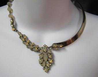 1990's Dimitriadis Artware Swarovski Elements Bronze Chocker
