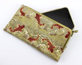 Metal Frame Phone Case, Kimono Phone Covers, iPhone 6S Sleeve, Galaxy S6 Edge Cover, Koi Beige