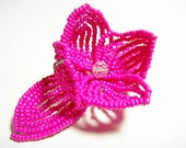 Pink Fushia Flower Floral Bloom French Beaded Fascinator - Pearl Collection