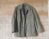 Vintage Green Cotton Canvas Padded Button Up Jacket Size S