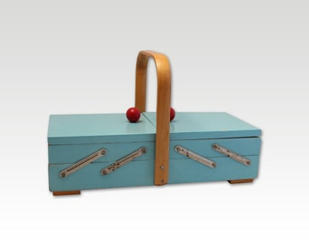 Vintage sewing box- Blue and red - Wooden- Sewing Organizer- 1960s