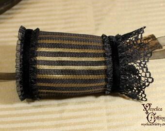 Steampunk Single Wrist Cuff -- Ready to Ship, Size S -- Black and Gold Pinstripe w/Lace