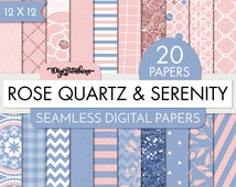 Rose Quartz and Serenity Scrapbook Digital Papers, A4 size, commercial use included, Ombre, Florals, geometrics, glitter, etc