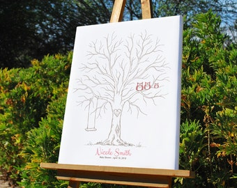 Baby Shower Thumbprint Tree Guest Book Alternative, Custom Family Tree, Baby Announcement, Nursery Wall Art, Owls & Swing, Canvas or Print