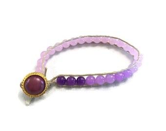 Purple ombre wrap bracelet button