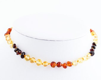 Baltic Amber Baby Teething Necklace  Multicolor Beads