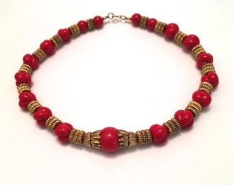 Red Glass Beaded Necklace with Brass Beads