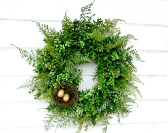 BOXWOOD & FERN Wreath-Summer Wreath-Fall Wreath-Outdoor Wreath-Year Round Wreath-Home Decor-Artificial Wreath-Custom Made USA-Gifts