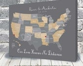 Cotton Anniversary Gift, Choose your Location, US canvas map, Gift for Husband, Wife, Destination wedding, Farewell gift
