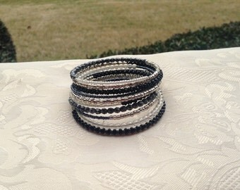 Black and Silver Memory Wire Bracelet Beaded Jewelry