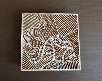 Indian Peacock Stamp: Large Square Wooden Printing Block, Hand Carved Wood Bird Stamp,Textile Stamp, Ceramic Tile Pottery Clay Stamp, India