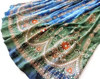 Gypsy Skirt: Maxi Skirt, Tie Dye Skirt, Long Indian Skirt, Bohemian Festival Clothing, Hippie Skirt, Blue and Green Skirt, Peasant Skirt