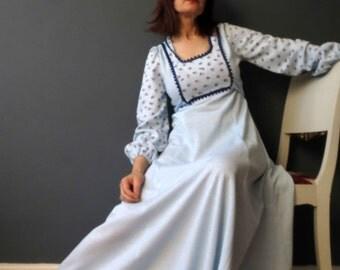 70s Aquamarine Blue Boho Dress, Long Sleeve Prairie Dress Small Empire Line